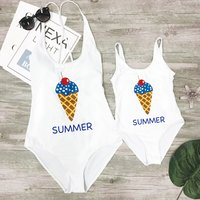 Mom and Me Ice-Cream Summer Bathing Suits Matching Style White