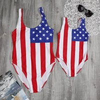 Mom and Me Classic One-piece National Flag Printed Swimsuit