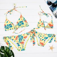 2-piece Allover Floral Printed Bikini Set in Yellow for Mom and Me