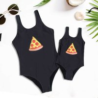 Mom and Me Unicorn Pizza Printed One-piece Swimsuit in Black
