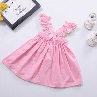 Cute Hollow Out Decor Ruffled Strap Dress in Pink for Baby Girl