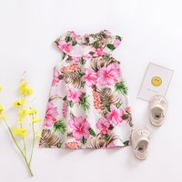 Lovely Floral Round Neck Sleeveless Dress in Pink for Baby Girl