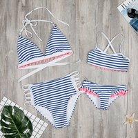 2-piece Stripes Pom-pom Detailed Ruffles Bikini Set in Blue