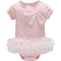 Pretty Bow Decor Mesh Tutu Bodysuit in Pink for Baby Girl