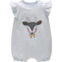 Cute Deer Print Ruffled Cap-sleeve Romper for Baby