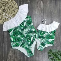 Mommy and Me Tropical Printed Ruffles One-shoulder Swimsuit