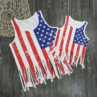 Mommy and Me Stylish Nation Flag Printed Tassel Bikini Cover-ups