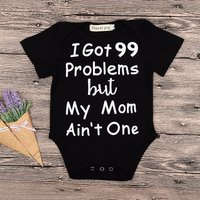 Comfy Letter Print Short-sleeve Bodysuit in Black for Baby Boy