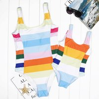 Mommy and Me Colorful Stripes Printed One-piece Swimsuit