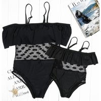 Mommy and Me Stylish Mesh Ruffles Contrast One-piece Swimsuit in Black