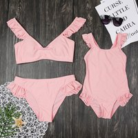 Mommy and Me Solid Ruffles Swimsuit in Pink