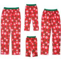 Family Matching Snowflake Pattern Red Pajama Pants