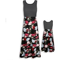 Mommy and Me Stripes Floral Printed Sleeveless Maxi Dress