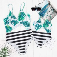 Mommy and Stripes Tropical Printed Hollow Out One-piece Swimsuit