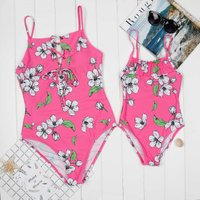 Mommy and Me Gorgeous Flower Printed Lace-up One-piece Swimsuit in Hot Pink