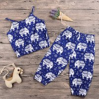 2-piece Baby's Ethnic Elephant Pattern Strap Top and Pants Set