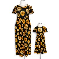 Mommy and Me Gorgeous Sunflower Printed Short-sleeve Dress