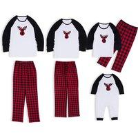 Christmas Deer Plaid Family Matching Pajamas