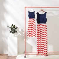 Mommy and Me Stripes Contrast Sleeveless Maxi Dress