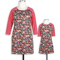 Mommy and Me Vintage Stripes Floral Half-sleeve Dress