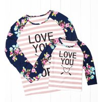 Mommy and Me Sweet Letter Stripes Floral Long Sleeve T-shirt
