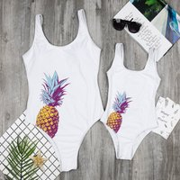 One-piece Mommy and Me Solid Pineapple Printed Swimsuit in White
