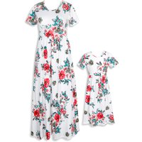 Mommy and Me Floral Printed Short-sleeve Maxi Dress in White