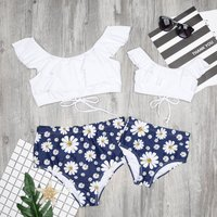 Mommy and Me Sweet Ruffles Sunflower Printed Lace-up Bikini Set in White
