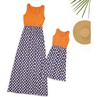 Mom and Me Star Printed Sleeveless Dress in Orange