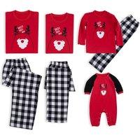 Cute Reindeer Santa Print Family Matching Pajamas in Red
