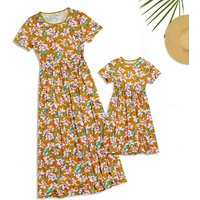 Mommy and Me Short Sleeves Floral Maxi Dress in Yellow