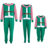 One-piece Santa Christmas Family Matching Pajamas in Green