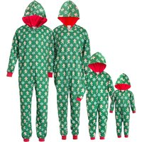 One-piece Gingerbread Man Printed Christmas Pajamas in Green