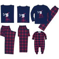 Christmas Family Matching Dog Applique Plaid Pajamas