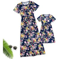 Mommy and Me Pretty Short Sleeves Floral Dress