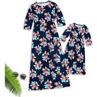 Mommy and Me Trendy Floral Maxi Dress in Dark Blue