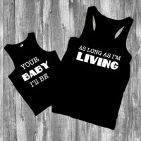 Mommy and Me Graphic Tank Tops in Black