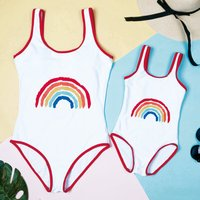 Mommy and Me Stylish Rainbow Printed One-piece Swimsuit in White