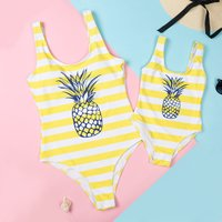 Mommy and Me Stripes Pineapple One-piece Swimsuit in Yellow