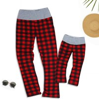 Mommy and Me Classic Plaid Yoga Pants in Red
