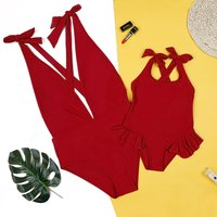 Mommy and Me Solid Bowknot One-piece Swimsuit in Crimson