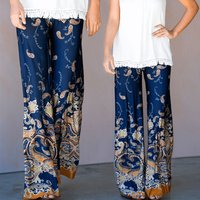 Boho Style Foliage Pattern Loose Fit Mom and Me Yoga Pants in Blue