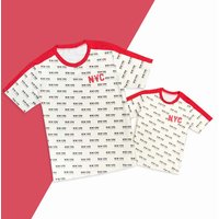 Mommy and Me Cool New York City Printed Short-sleeves Tee in Beige