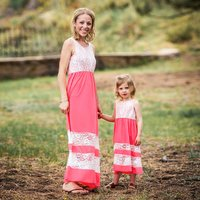 Sleeveless Pink Mom and Me Dress with White Lace (Price Varied by Size)