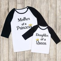 Mommy and Me Sweet Letter Printed 3/4 Sleeves Tee