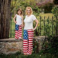 4th of July Star Printed Mom and Me Yoga Pants