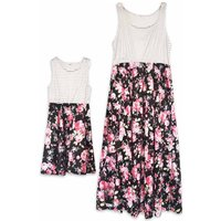 Beautiful Floral Striped Sleeveless High-waist Mom and Me Maxi Dress