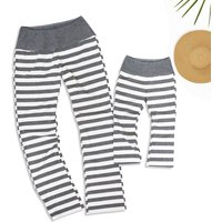 Comfy Grey Stripes Cotton Yoga Pants for Mammy and Me