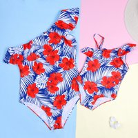 Mommy and Me Pretty Tropical Floral Printed Ruffles Swimsuit