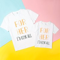Mommy and Me 'FOR HER' Printed Cotton Short-sleeve Tee in White